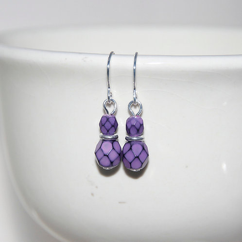 Tiny Purple Faceted Scale Earrings