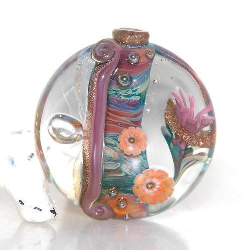 Arizona Desert Flower Garden Large Lentil Lampwork Glass Bead