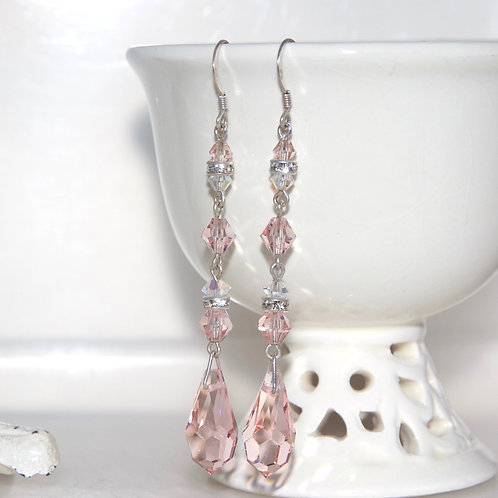 Really Long Vintage Pink Swarovski Crystal Bling Earrings