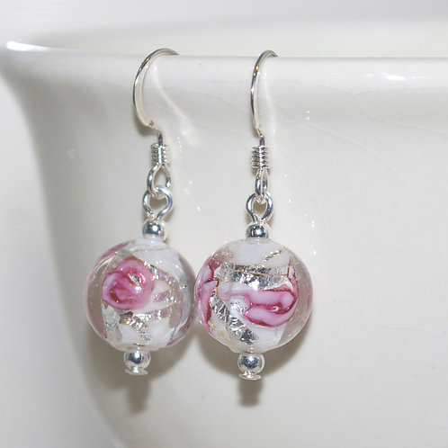 Dainty White and Pink Flower Earrings