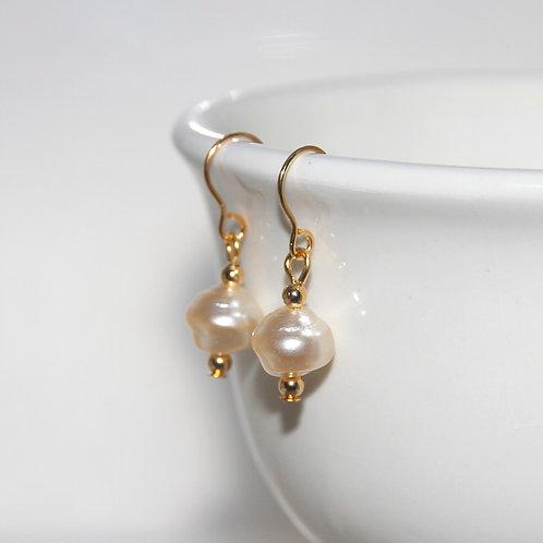 Irregular Cream Pearl Earrings on Gold