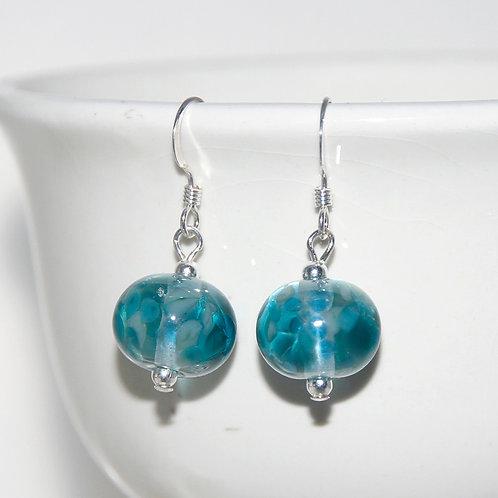 Teal Ocean Speckled Lampwork Glass Sterling Silver Earrings