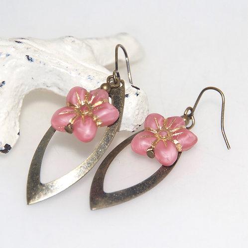 Pink Flower Antique Brass Frame Earrings