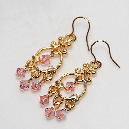 Light Rose AB Swarovski Crystal Chandelier Earrings