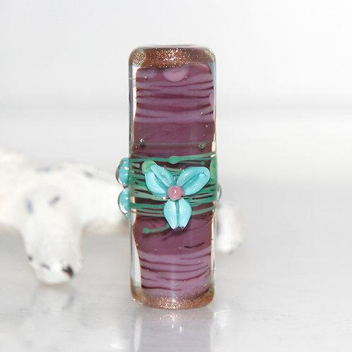 Grape Splash Turquoise Flower Barrel Lampwork Glass Bead