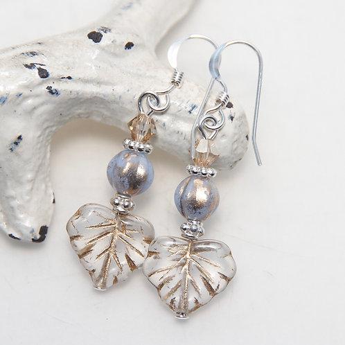 Czech Golden Leaves Light Periwinkle and Swarovski Sterling Silver Earrings