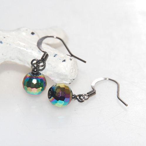 Rainbow Baby Faceted Ball Earrings