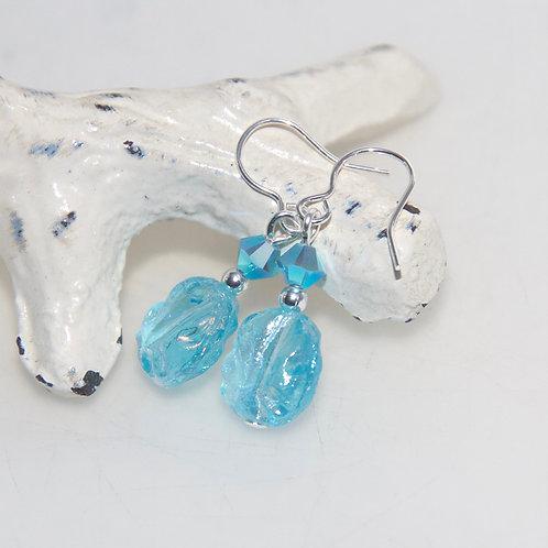 Blue Ice Nugget Drop Earrings