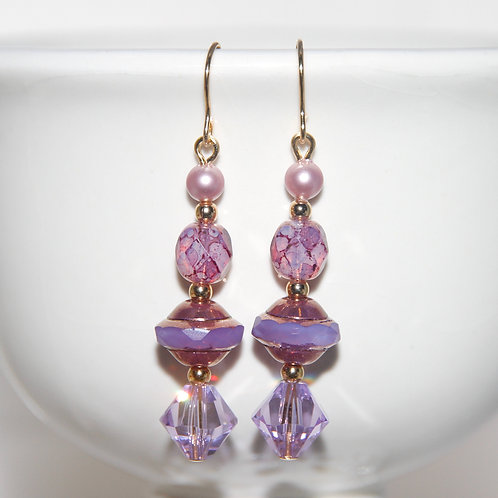 Swarovski Crystal and Czech Glass Violet Pearl Gold Earrings