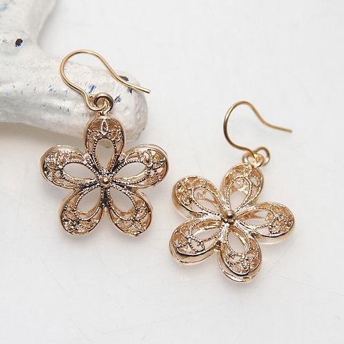 Golden Filigree Flower Earrings
