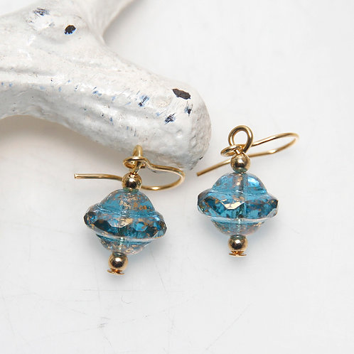 Czech Glass Blue and Gold Earrings