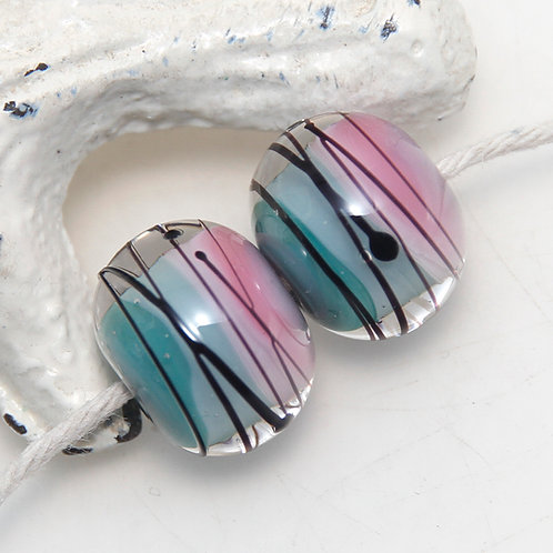 Pink and Teal with Black Splash Lampwork Glass Bead Pair