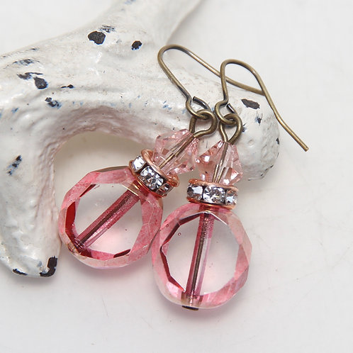 Pink Window Czech Glass and Crystal Antique Brass Earrings