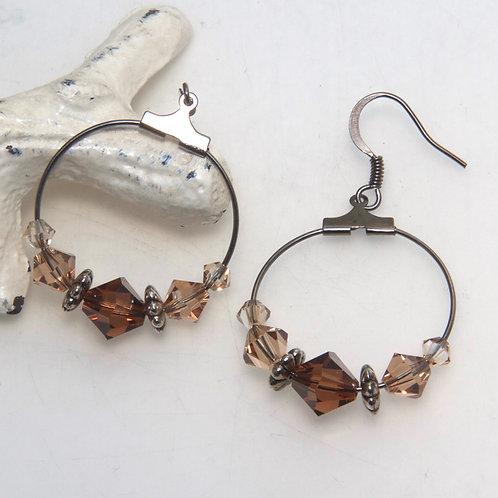 Brown Swarovski Crystal Hoop Earrings