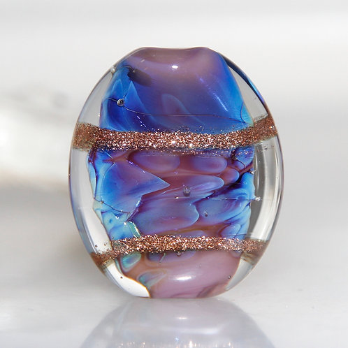 Ethereal Blue Purple Goldstone Flat Lampwork Glass Bead