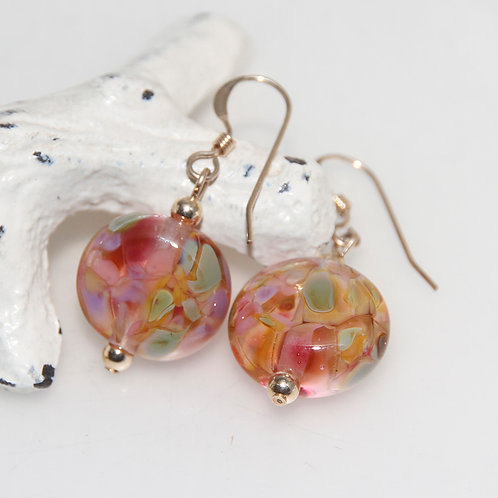 Autumn Gold Speckled Lampwork Glass Earrings