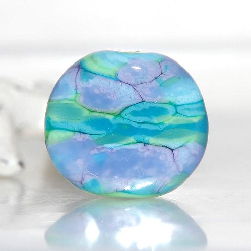 Angelite Green Purple Aqua Flat Lampwork Glass Focal Bead