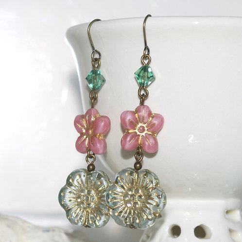 Sage Green and Pink Flower Drop Earrings