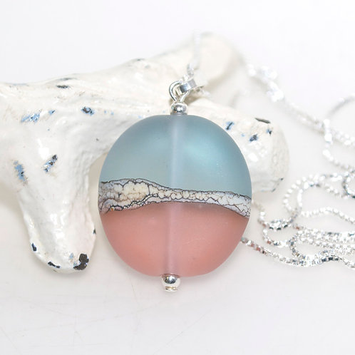 Satin Blue Peach Two Tone Necklace