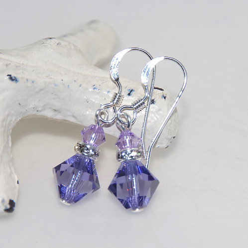 Violet Purple Swarovski Crystal Bling Drop Earrings