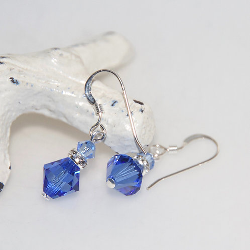 Sapphire Swarovski Crystal Bling Drop Earrings