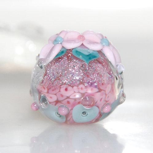 Pink Shimmer Flower Garden Round Lampwork Glass Bead