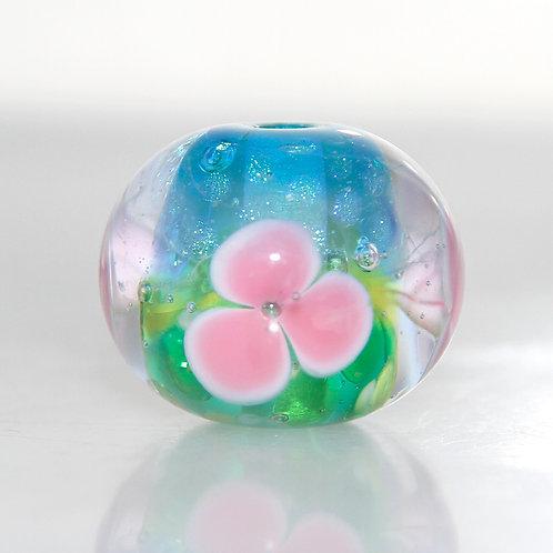 Pink Floral Over Transparent Landscape Lampwork Glass Focal Bead