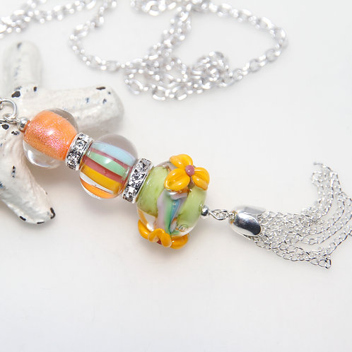 Happy Floral Lampwork Glass Silver Plated Tassel Necklace