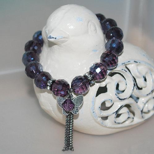 Purple Butterfly Tassel Bracelet