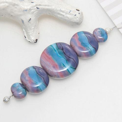 Purple Aqua Pink Blend Lampwork Glass Bead Set
