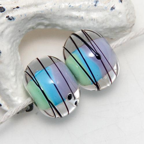 Purple Blue Green with Black Splash Lampwork Glass Bead Pair