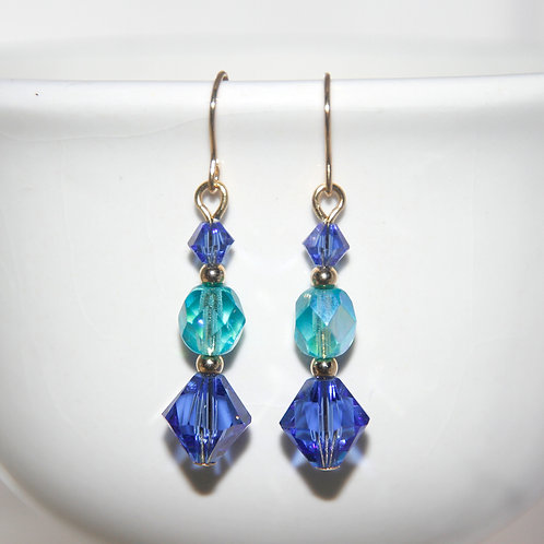 Czech Glass and Swarovski Crystal Sapphire Aqua Gold Earrings
