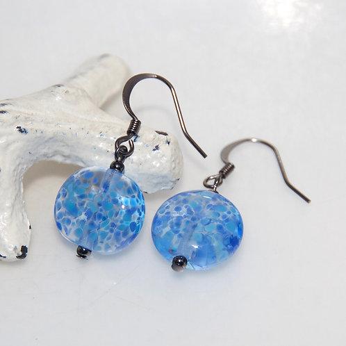 Sapphire Blue Speckle Glass Earrings