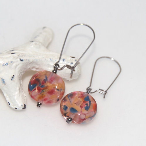 Peach Watermelon Blue Glass Earrings