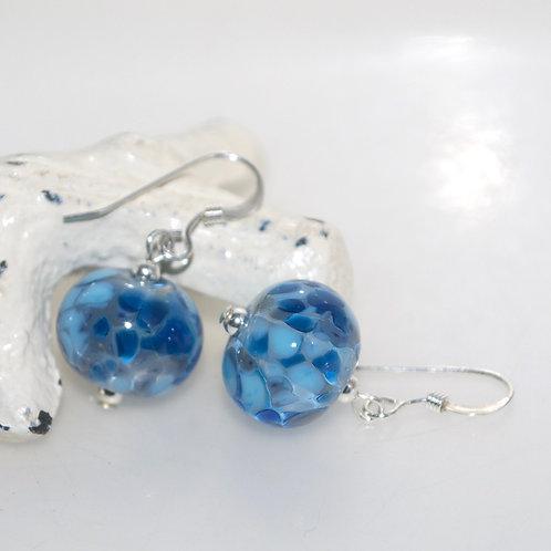 Two Tone Blue Speckle Glass Earrings