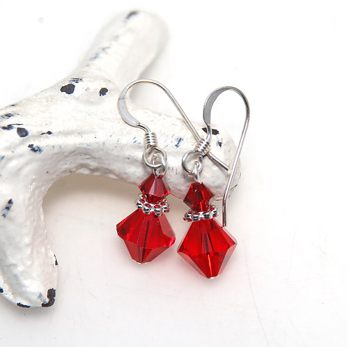 Siam Red Swarovski Crystal Earrings