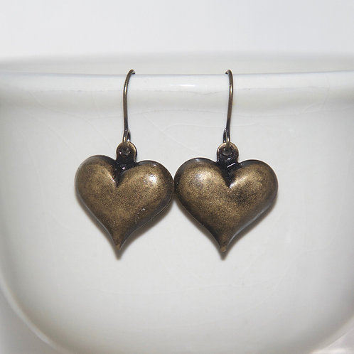 Antique Brass Puffy Heart Earrings