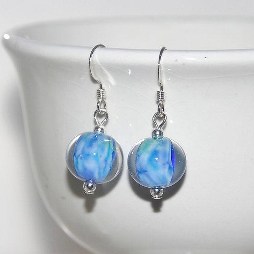 Winter Pond Blue Glass Sterling Silver Earrings