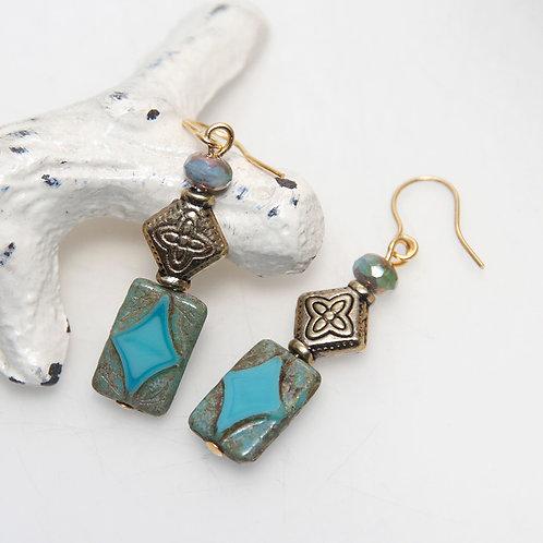 Turquoise Golden Czech Glass Earrings