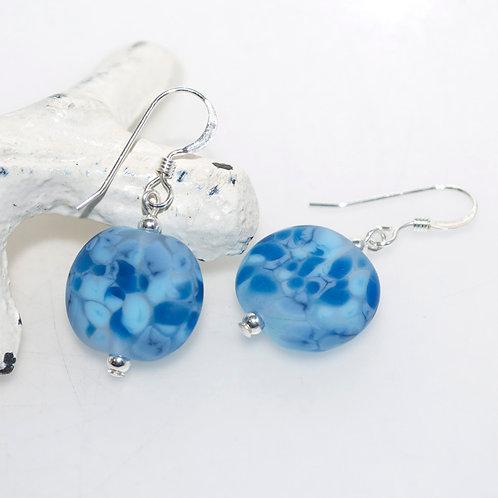 Satin Blue Speckle Earrings