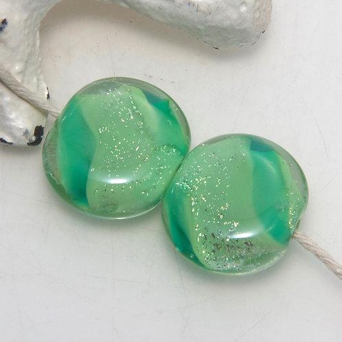 Lime Green Dichroic Lampwork Glass Bead Pair