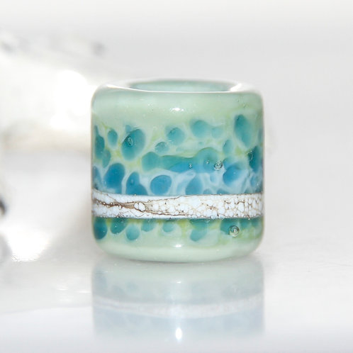 Speckled Blue on Sage Green Glass Dread Bead 9mm Hole