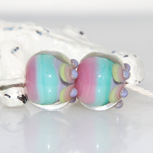 Pink Turquoise Pastel Spotted Lampwork Glass Bead Pair