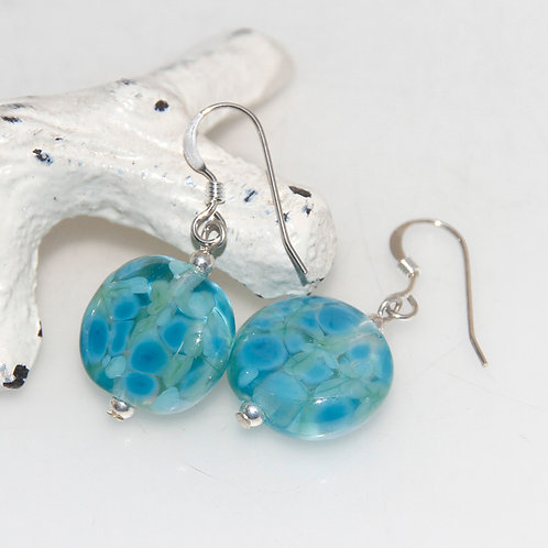Turquoise and Green Speckled Lampwork Glass Sterling Silver Earrings