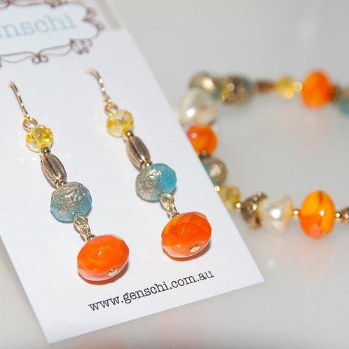 Sunshine Yellow Orange and Turquoise Bracelet and Earring Set