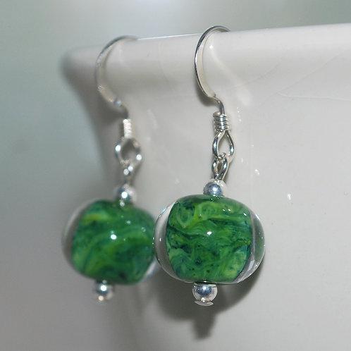 Rainforest Green Lampwork Glass Earrings