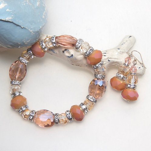 Copper Rosaline and Peach Crystal Bracelet and Earring Set