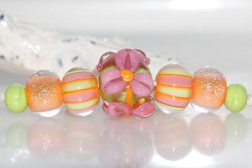 Orange Fizz Lampwork Glass Bead Set