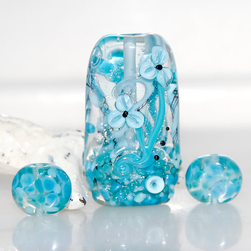 Monotone Blue Dichroic Garden Lampwork Glass Bead with Matching Pair