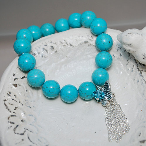 Turquoise Blue Butterfly Tassel Bracelet